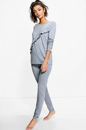 Tall Aalia Ruffle T-Shirt & Leggings Lounge Set