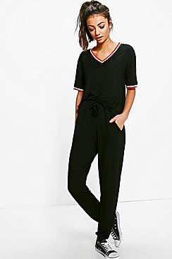 Tall Abra Sports Rib Detail T-Shirt & Jogger Set