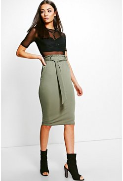 Tall Alaina Belted Midi Skirt
