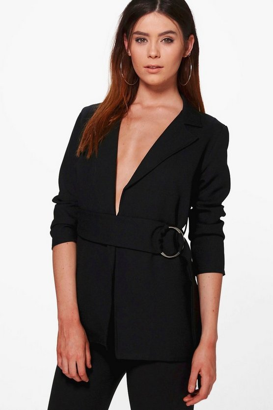 Tall Elba Woven Buckle Blazer Jacket