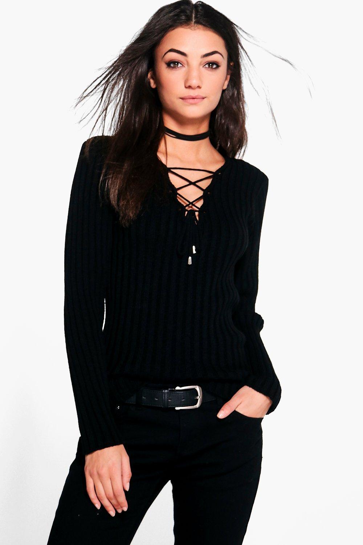 Womens Tall Pullover mit Schnürung - Schwarz - 34, Schwarz - Boohoo.com