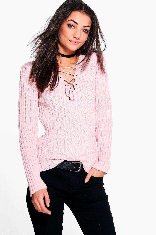 Womens Tall Pullover mit Schnürung - Hellrosa - 34, Hellrosa - Boohoo.com
