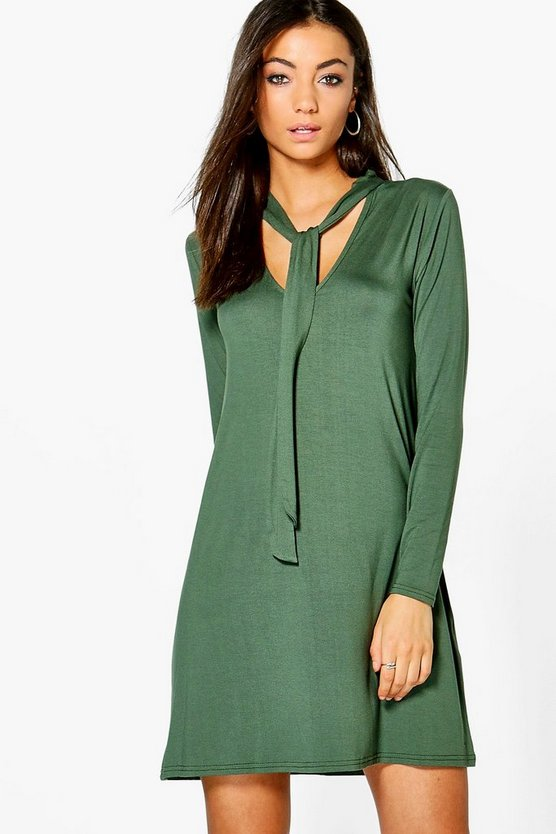 Tall Riva Tie Neck Swing Dress