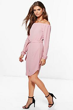 Tall Phoebe Belted Off The Shoulder Dress