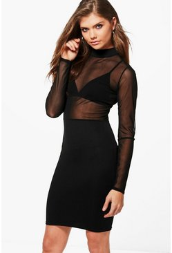 Tall Gisele Mesh Top Midi Dress