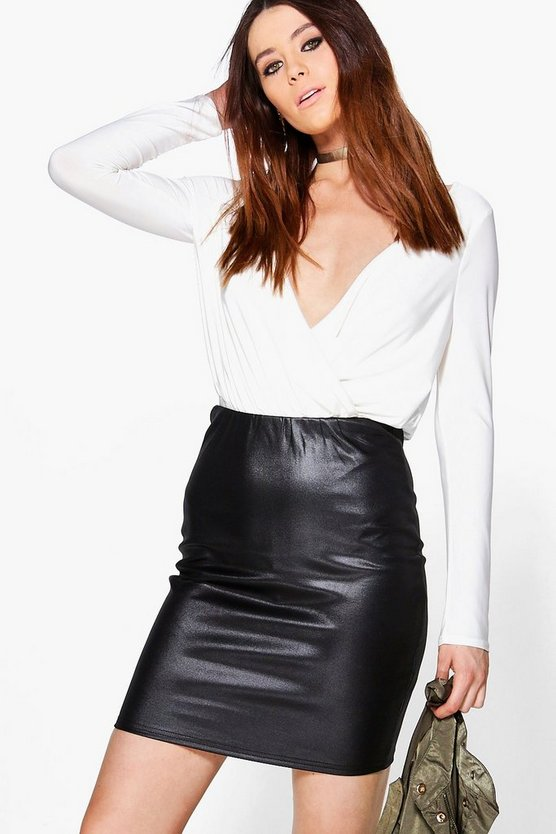 Tall Aurelie PU Mini Skirt