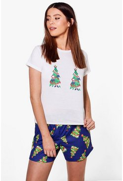 Tall Olivia Christmas Tree T-Shirt & Short Set