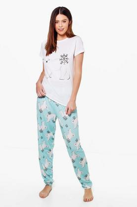 Tall Siana Polar Bear T-Shirt & Trouser Set