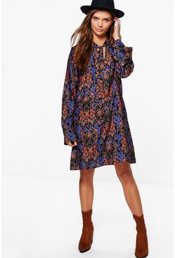 Tall Ella Mixed Print Tie Neck Dress