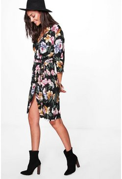 Tall Lydia Woven Floral Wrap Front Dress