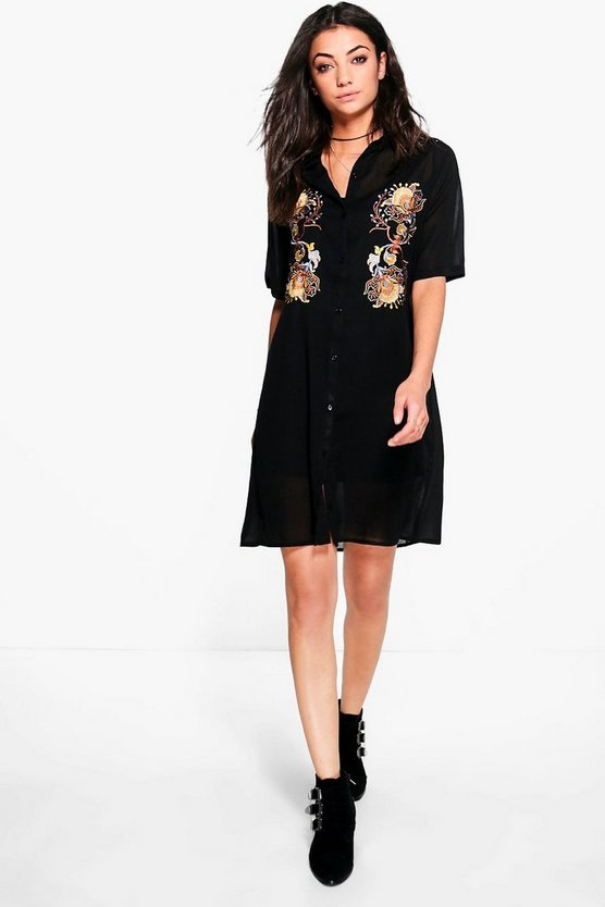 Tall Serina Premium Embroidered Woven Shirt Dress