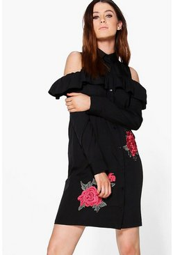 Tall Lulu Embroidered Cold Shoulder Shift Dress