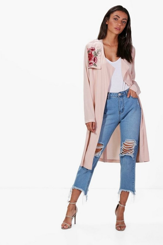 Tall Arielle Embroidered Duster Jacket