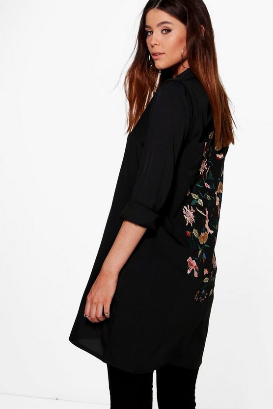 Tall Premium Embroidered Back Woven Shirt