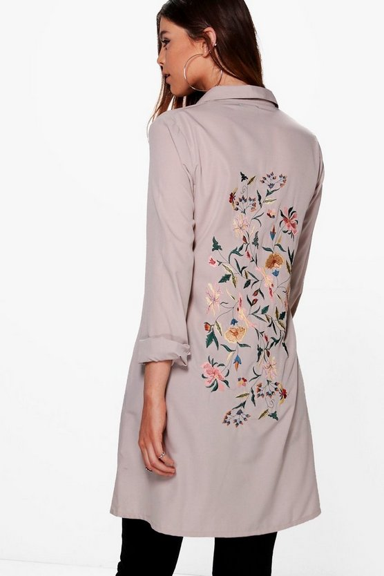 Tall Tiah Premium Embroidered Back Woven Shirt