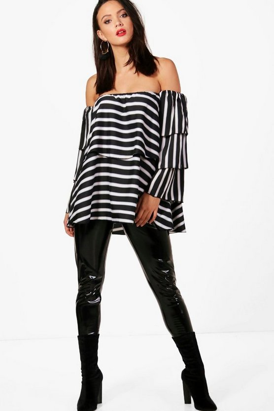Tall Stripe Woven Off The Shoulder Top