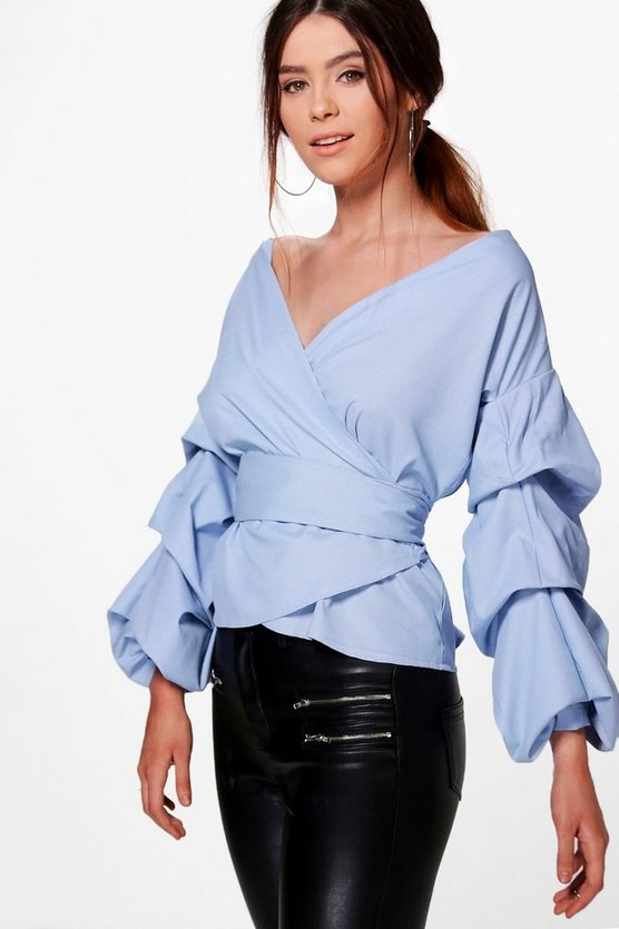 Tall Taura Woven Rouched Sleeve Top