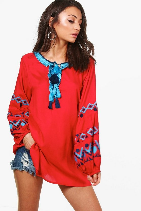 Tall Thea Premium Embroidered Woven Top