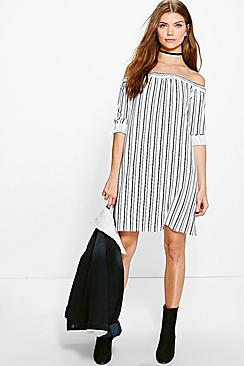 Tall Lexie Striped Off The Shoulder Dress