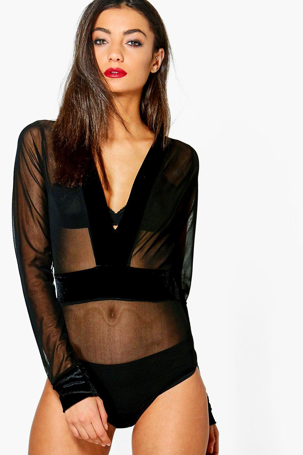 Tall Bronte Mesh And Velvet Bodysuit