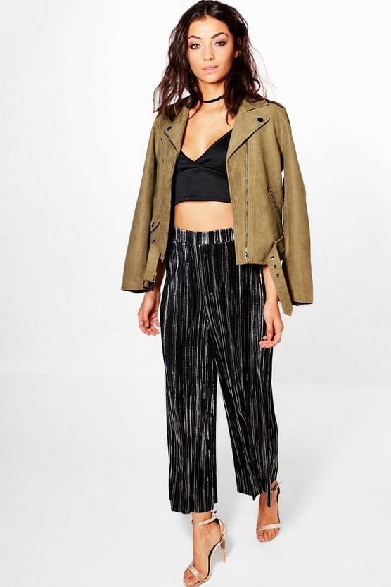 Tall Luana Metallic Pleated Cullottes