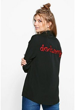 Tall Lucine Slogan Back Embroidered Woven Shirt