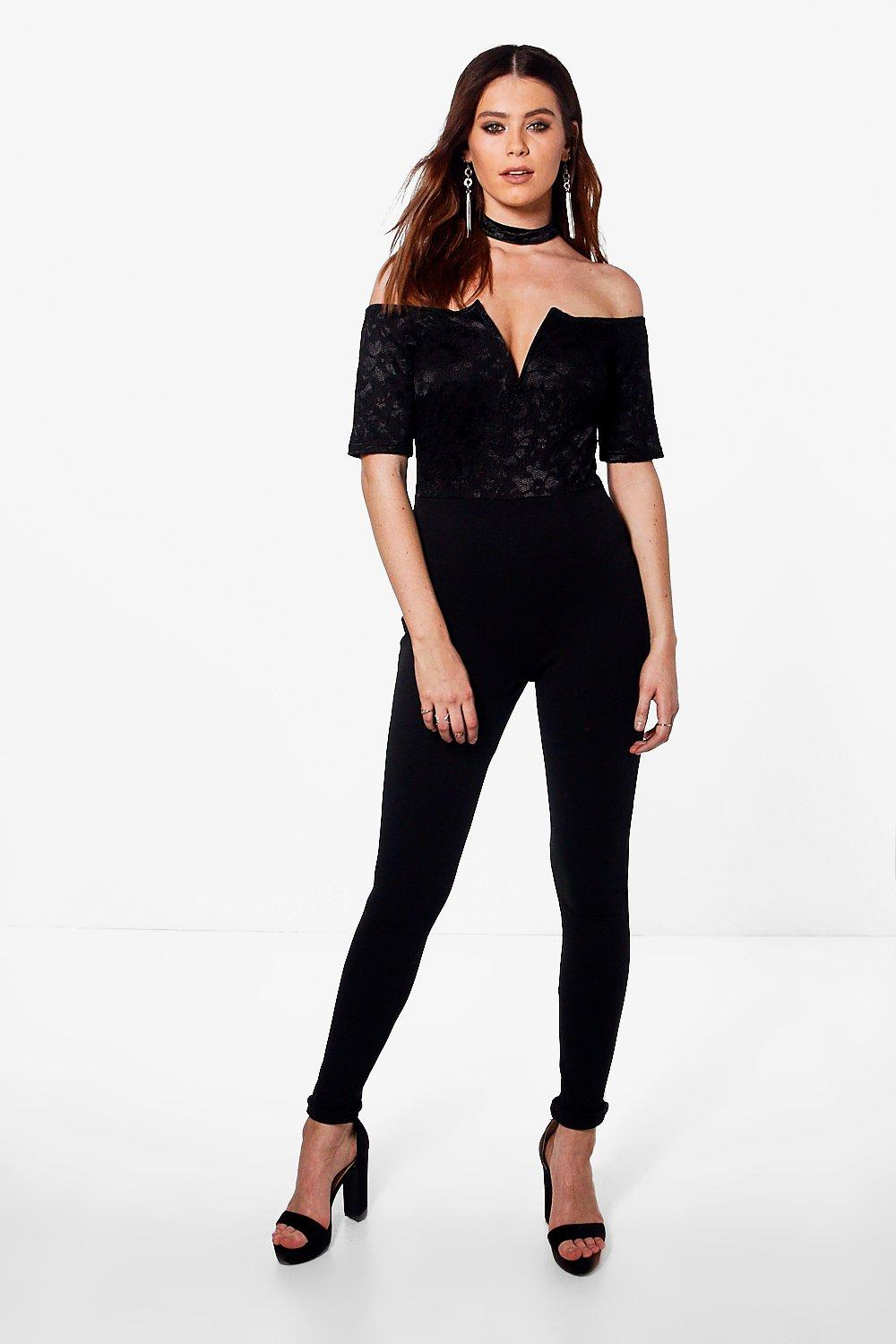 Tall Lydia Lace Off The Shoulder Jumpsuit