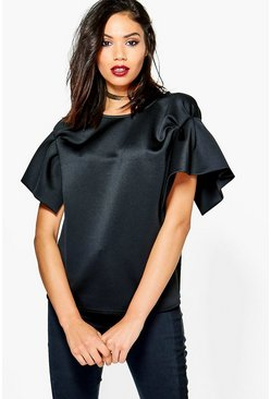 Tall Lida Pleated Short Sleeve Scuba Top