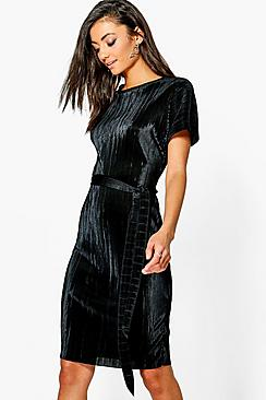 Tall Leah Pleated Midi Dress