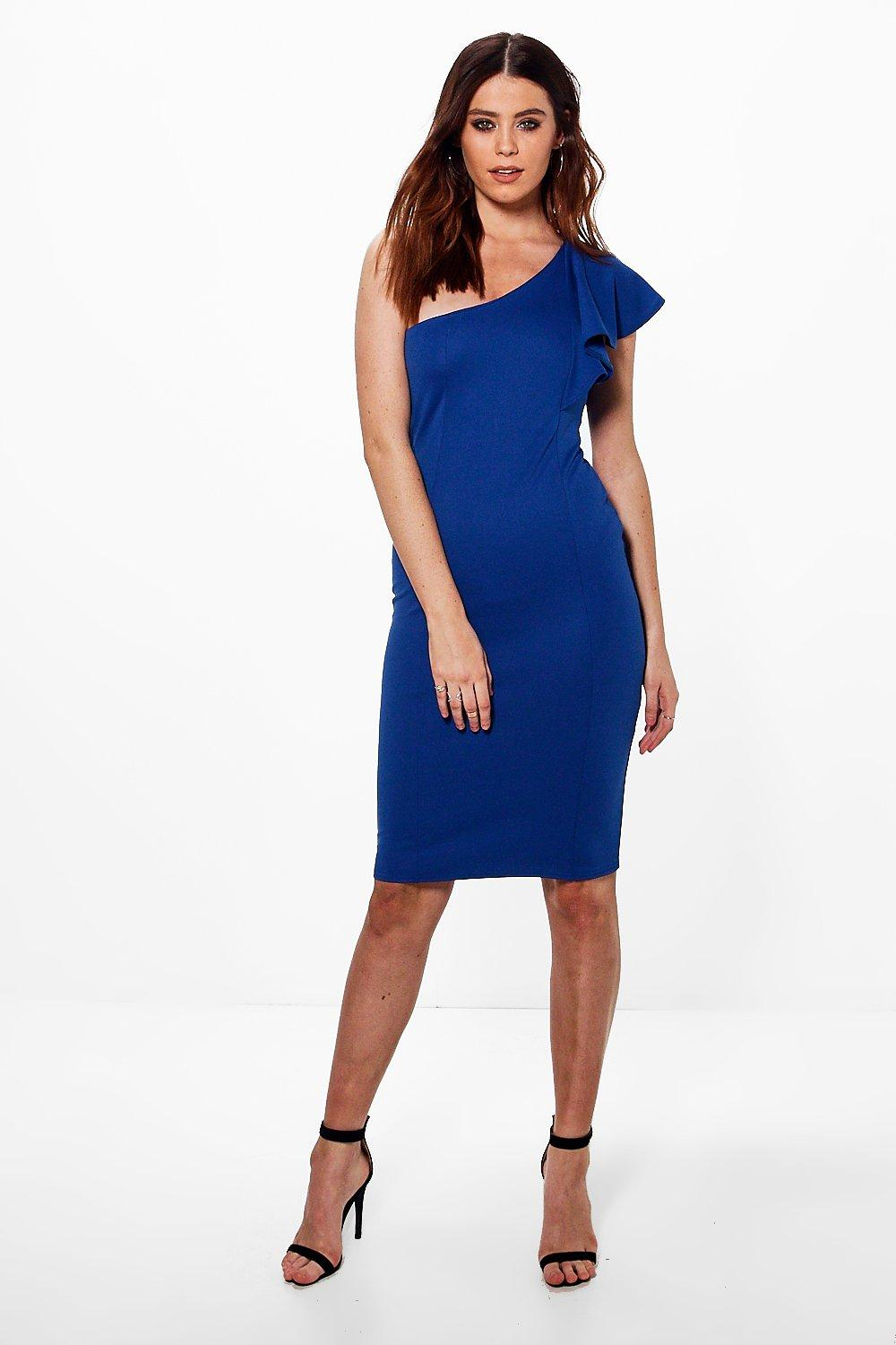 Hattie One Shoulder Ruffle Dress  blue