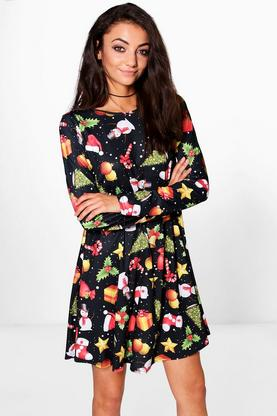 Tall Kahlo Christmas Print Swing Dress
