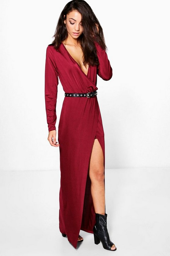 Tall Rachelle Wrap Front Slinky Maxi Dress