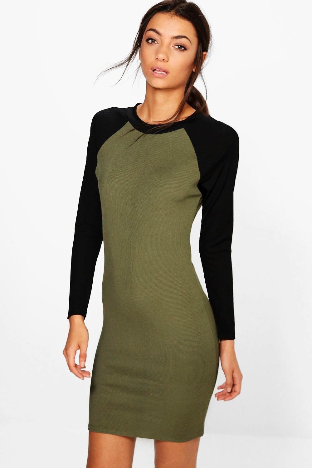 Tall Luna Contrast Sleeve Rib Dress