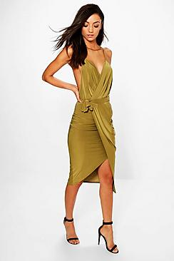 Tall Lalli Wrap Detail Plunge Slinky Midi Dress