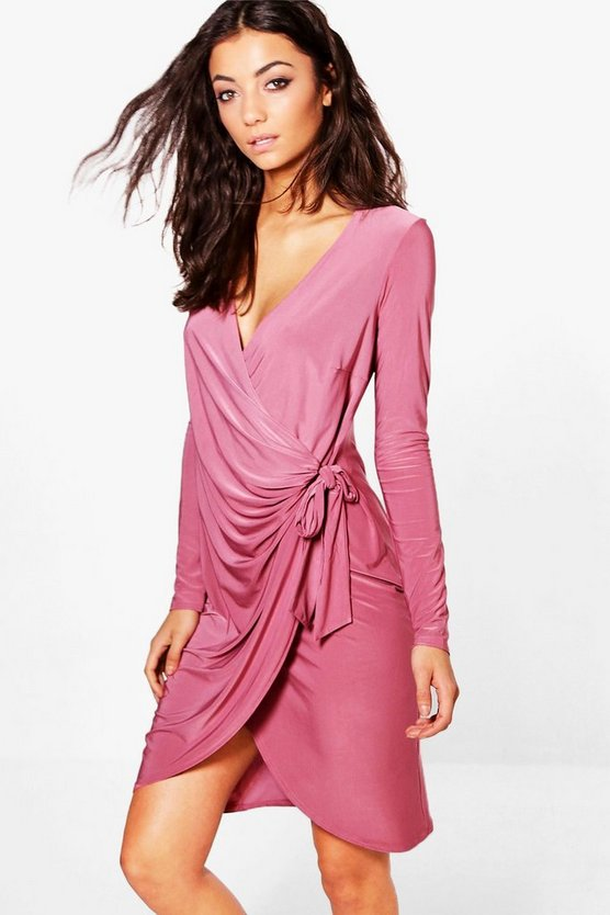 Tall Lise Drape Wrap Front Long Sleeved Dress