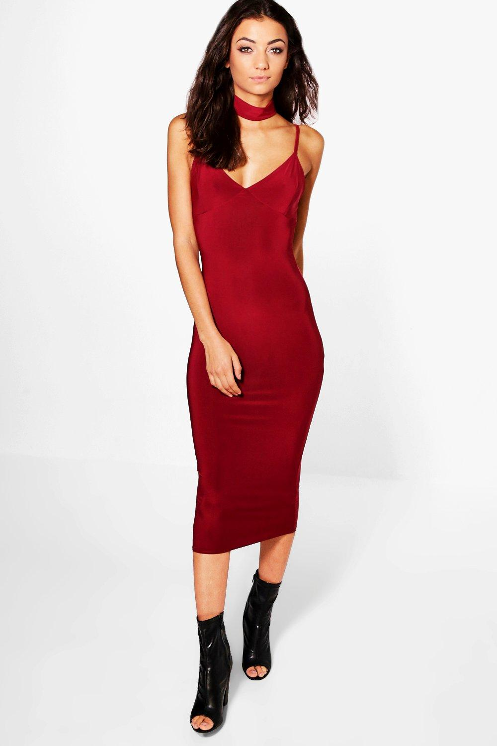 Tall Lena Choker Plunge Neck Midi Dress