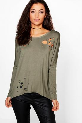 Tall Rina Distressed Oversized Top