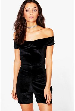 Tall Velvet Off The Shoulder Playsuit