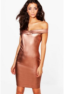 Tall Belle Metallic Off The Shoulder Dress