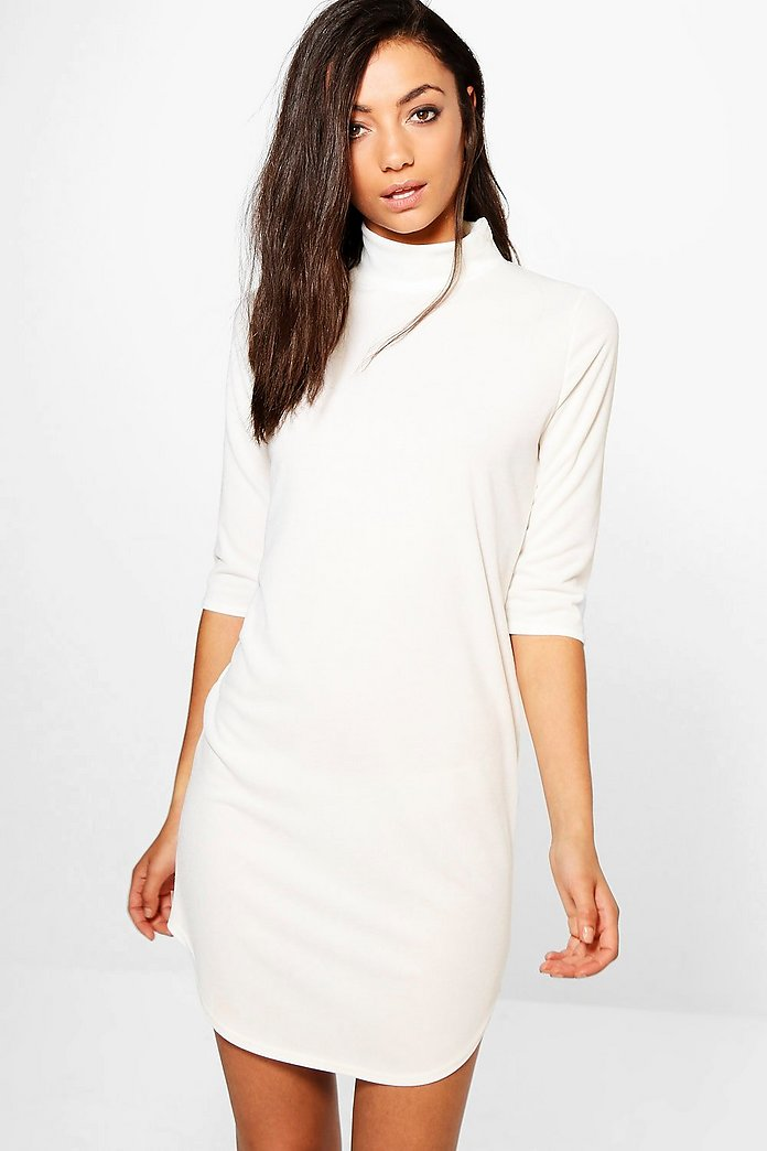 Tall Brea High Neck Curved Hem Dress