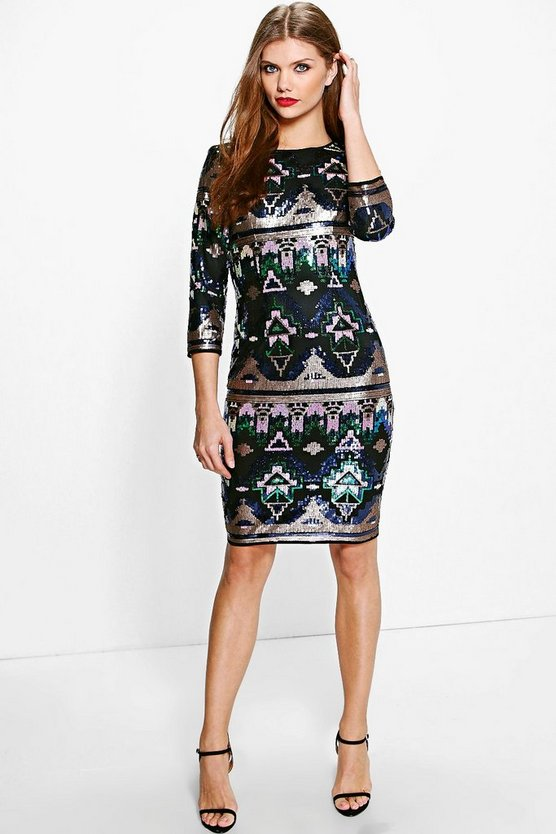 Tall Mili Multi Sequin Mini Dress