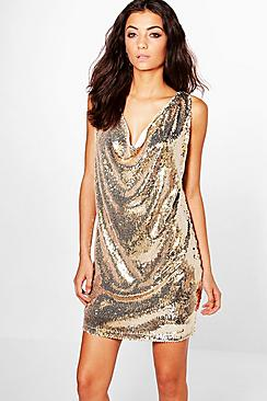 Tall Melisa Drape Front Sequin Dress