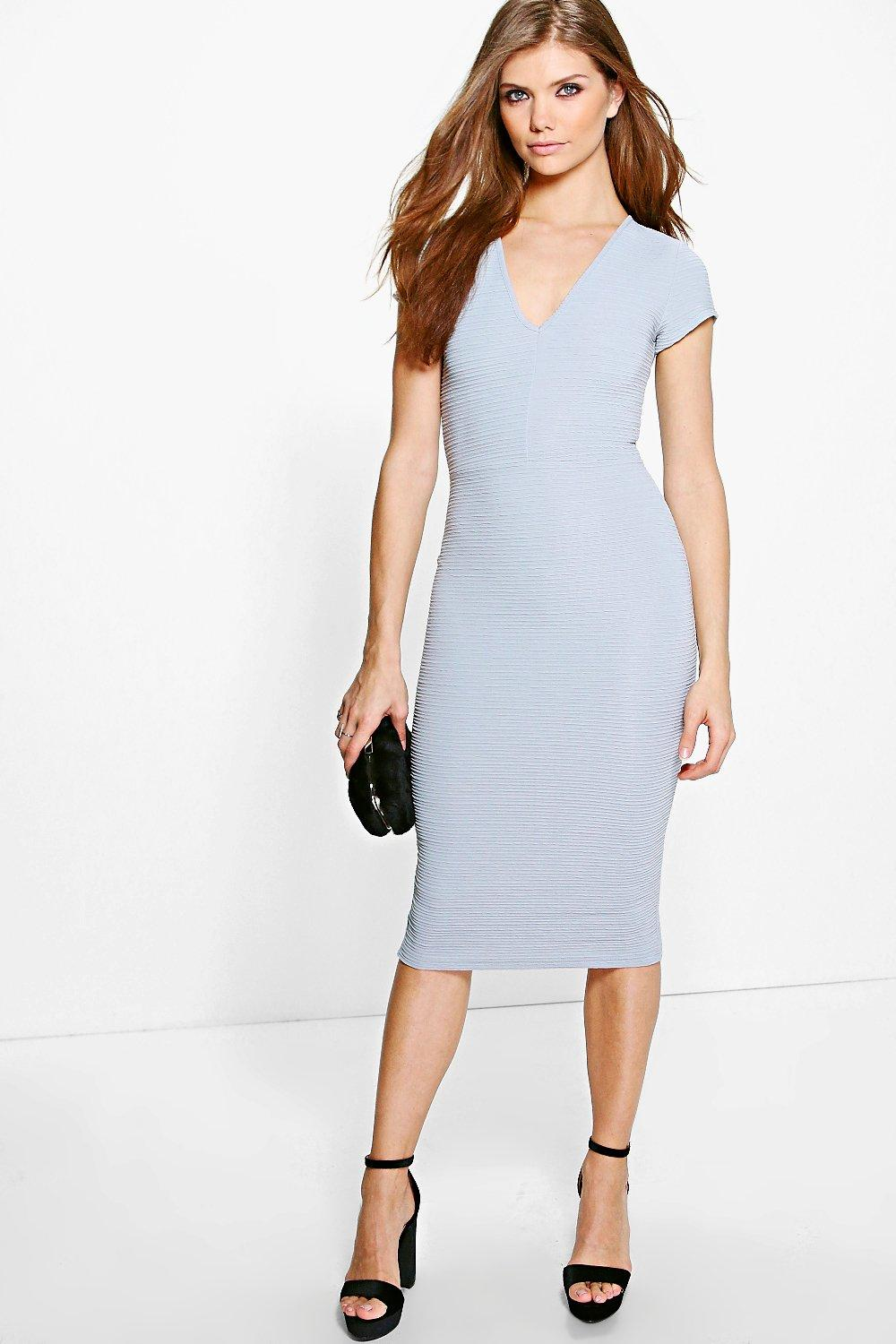 Tall Lea Plunge Bandage Fabric Midi Dress