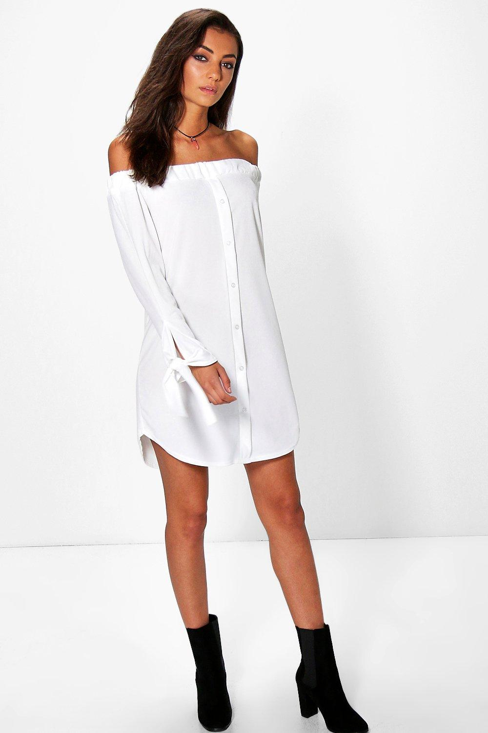 Tall Mercer Button Through Off The Shoulder Dress