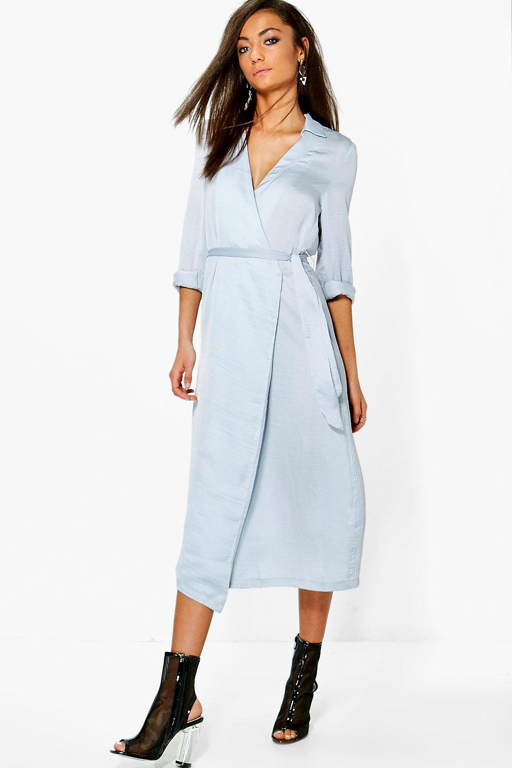 Meila Wrap Front Dress - dove