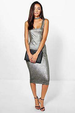 Tall Maymie Metallic Choker Midi Dress