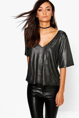 Tall Marissa Metallic Oversized Plunge Top