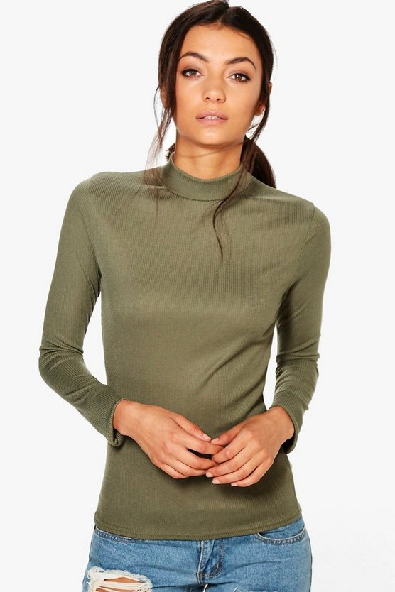 Tall Marian Ribbed Roll Neck Top