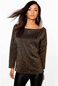 Tall Mareesa Metallic Slash Neck Jumper
