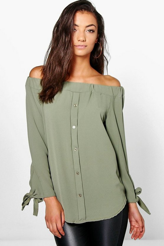 Tall Off The Shoulder Woven Top
